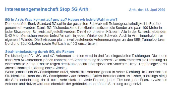 5G Arth: IG Stop rüttelt Bevölkerung wach